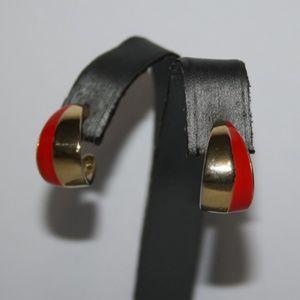Vintage gold and red hoop earrings